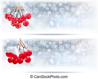 Holiday banners with Christmas branch with red berries...