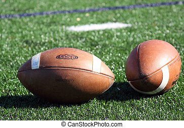 Two footballs lay on a field