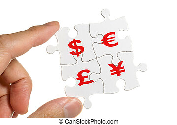 Dollar sign - Puzzle and Dollar sign, business concept
