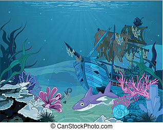 Underwater landscape - Underwater scene with old pirate ship...