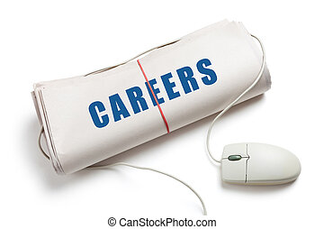 Careers, Computer mouse and Newspaper Roll with white...