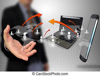 affärsman, nätverk, holdingen,  social
