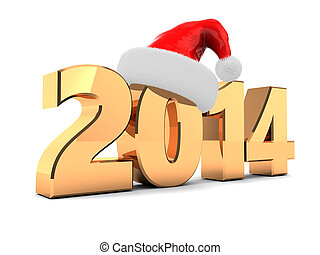 2014 new year - 3d illustration of new year 2014 sign with...