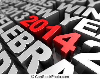 new year keywords background - abstract 3d illustration of...