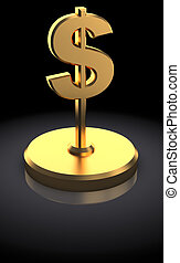 dollar award - 3d illustration of dollar sign award, over...
