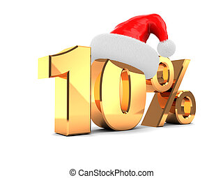 10 percent offer - 3d illustration of christmas sale ten...