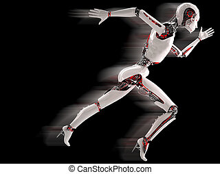 robot android women running  in black background