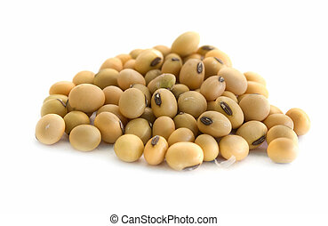 soy beans - close up of soy beans in isolated white...