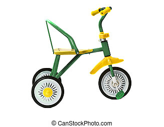green tricycle on a white background