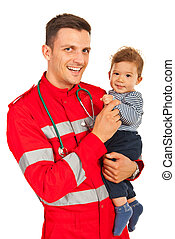 Happy paramedic and baby boy