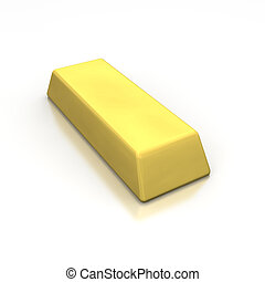 Golden ingot 3d rendered image isolated on white background...