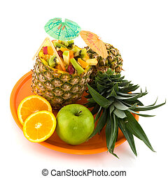 Tropical fruit on an orange tray