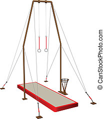 Gymnastic rings - equipment in sports gymnastics. Vector...
