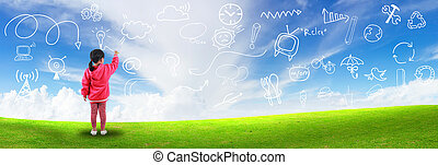 Little girl create idea drawing on blue sky