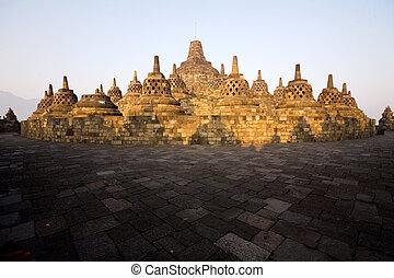 At the top of the Borobudur - Early morning at the top of...