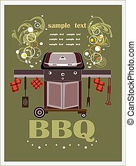 bbq brazier on the green background and picnic objects