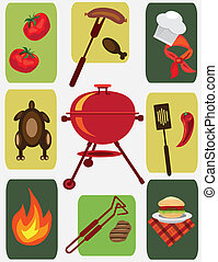 bbq icons,picnic objects.