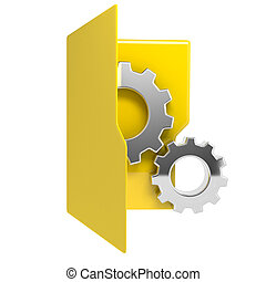 3d illustration of yellow folder icon with gear wheel