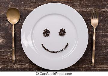 heureux, smiley, figure, plat, plaque