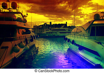 Large luxury yachts in the harbor of Cannes, France
