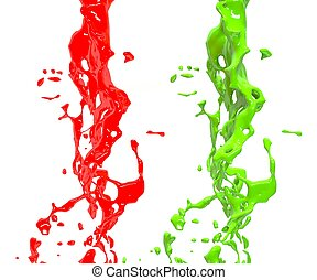 Red and green splash over white background. Element Design