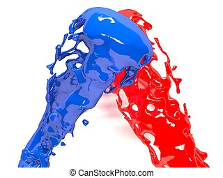 Red and blue splash over white background. Element Design