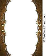 Frame with gold pattern isolated on white background -...