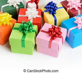 Multi color gift boxes isolated on white background