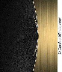 Black background with a yellow stripe with gold trim. Design...