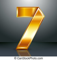 Number metal gold ribbon - 7 - seven - Arabic numeral folded...