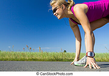 Running woman - Woman running on country road. Young female...