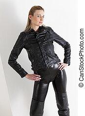 retrato, posición, mujer, Llevando, negro, ropa