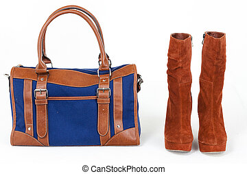 fashionable platform brown shoes with a denim handbag