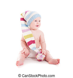 6 month baby - Adorable 6 month baby in funny crochet hat...