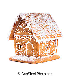 gingerbread house isolated on a white backgrond