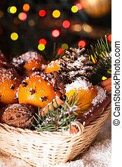 Sweet Christmas - Christmas basket - fir, tangerins and...
