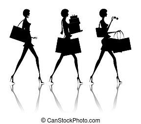 Women - The woman going with purchases from shop