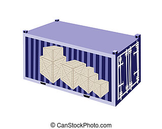 Stack of Wooden Crates in A Cargo Container