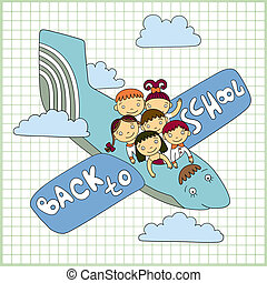 schoolchildren fly in an airplane - Sketchy vector group of...