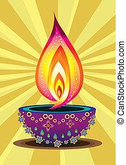 Diwali, vela, luz