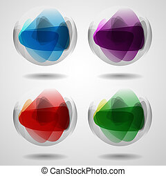 Set Of Translucent Crystal Ball. Vector Illustration. Eps...