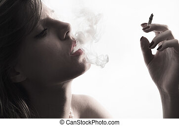 Woman with Cigarette - Portrait of young with cigarette