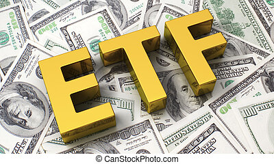 Abbreviation ETF on the background of one hundred dollar...