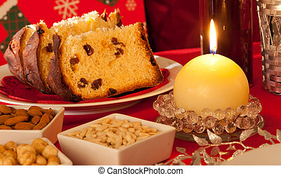 Decorated Christmas Dinner Table Setting with food and...