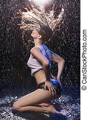 Wet beauty. Beautiful wet women posing under the rain
