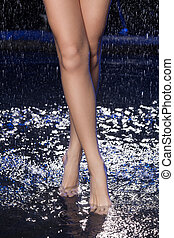 Legs in water. Close-up of wet female legs