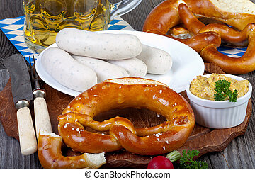 Typical Bavarian veal sausage snack