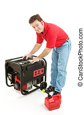Fueling the Generator - Man preparing to put gas in his...