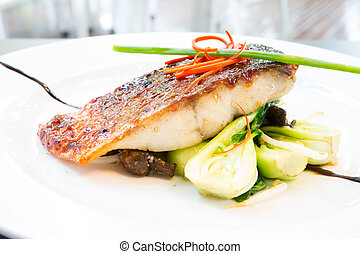 barramundi steak - grilled barramundi steak with sweet sauce