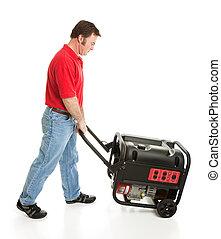 Man Pushing Portable Generator